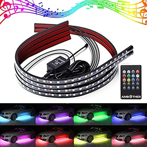 AMBOTHER 4Pcs RGB LED Car Underglow Kit Underbody System Neon Lights Atmosphere Decorative Bar Lights Kit Strip 5050 SMD Waterproof Tube 7 Color with Sound Active and Wireless Remote