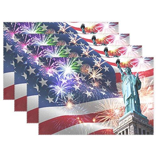 ALAZA Platzsets, 1 Stück, Freiheitsstatue mit USA-Flagge, Juli Unabhängigkeit, waschbar, Tischunterlage für Küche Esstisch, 30,5 x 45,7 cm, Polyester-Mischgewebe, Multi, 12x18 inch