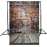 AFUT 1.5×2.1M Retro Brick Wand mit Parkettboden Kulissen Bildhintergrund Backdrops Hintergrund Foto Props für Fotografie Studio