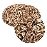 SARO LIFESTYLE Saunders-Roe Lifestyle natürlicher Wasserhyazinthe rund Rattan Tisch-Sets von Hand gewebt, Set von 4, 38,1cm Gold, gold, 38,1 cm