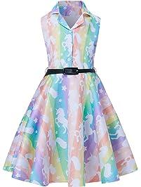 5f7572f47 RAISEVERN Primavera Verano Niñas Sin Mangas Una línea Vestido Retro  Elegante de la Fiesta de la