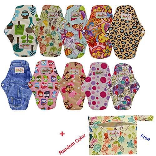 OHBABYKA Bambus wiederverwendbare Damenbinden Pads / Tuch Menstruation Pads für Frauen, (M, 10Pcs-mehrfarbig) -