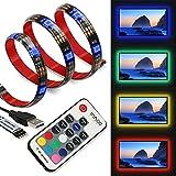 LED Strip InnooLight TVHintergrundbeleuchtung LED-Streifen anpassbare Hintergrundbeleuchtung Lichterkette mit vielen Farben, Fernbedienung und USB betriebenem 2 Meter für TV, Desktop ,Schreibtisch