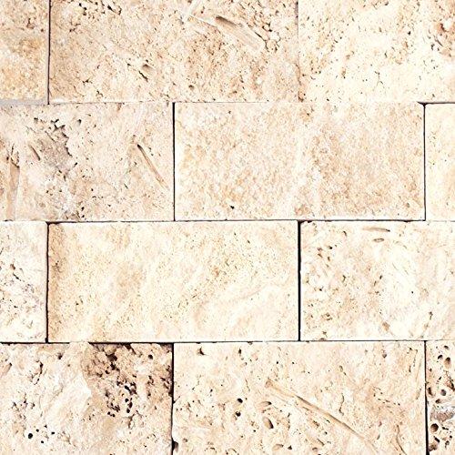 Mosaik Fliese Travertin Naturstein beige Brick Splitface Chiaro Travertin 3D für WAND BAD WC DUSCHE KÜCHE FLIESENSPIEGEL THEKENVERKLEIDUNG BADEWANNENVERKLEIDUNG Mosaikmatte Mosaikplatte