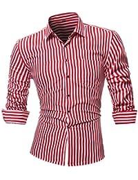 Camisas hombre Rayas de manga larga camiseta de otoño e invierno estilo  invierno c3cf3e49de71d
