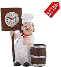 EZ Life Fat Foodie Chef Resin Pen Holder with Clock - Brown - Extra Discount Offer