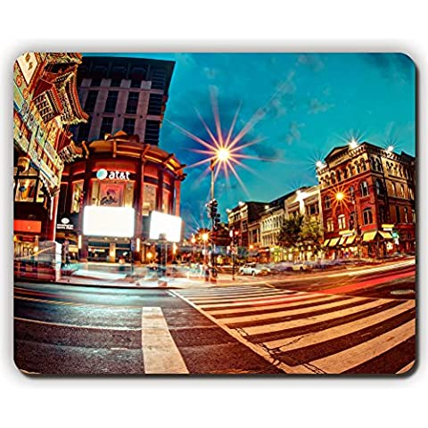 high quality mouse pad,chinatown washington pedestrian crossing night,Game Office MousePad size:260x210x3mm(10.2x 8.2inch)