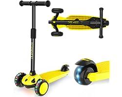 IMMEK Monopattino per Bambini, Monopattino a 3 Ruote con Ruote Lampeggianti, Manubrio Regolabile Scooter per Ragazze e Ragazz
