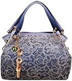 Rovanci Damen Handtasche Umhängetasche Mode Tasche Jahrgang für Frauen Blau