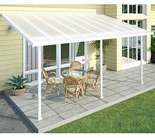 Palram Terrassendach, Terrassenüberdachung 300x610 weiß // Milchige Verglasung am Dach // Carport, Überdachung und Markise für den Garten
