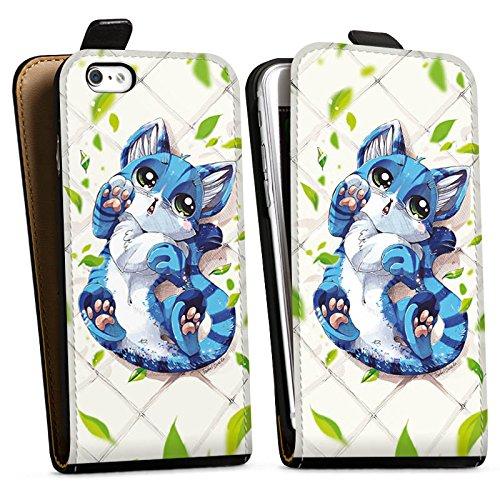 Apple iPhone X Silikon Hülle Case Schutzhülle Blaue Katze Cat Kitty Downflip Tasche schwarz