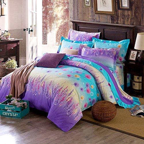 DACHUI Baumwolle gebürstet bedruckte Bettwäsche vier Sätze von Bettwäsche Bettbezug Kopfkissenbezug, Lavendel, 220 * 240 cm (Lavendel-bett-satz)