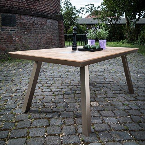 greemotion 129017 Alu Gartentisch Locarno-Esstisch aus Aluminium mit Tischplatte in Holz Optik-Tisch für Garten, Terrasse & Balkon-Alutisch mit Stauraum, Braun 20,2 x 10,2 x 1 cm