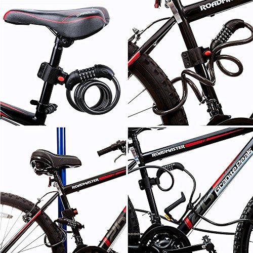 topeur Bike Cable Lock, Self Coiling con candado de combinación Cable bicicleta cerraduras seguridad 5dígitos Core bicicleta 1,2m cadena de acero con soporte de montaje para el ciclismo de equitación al aire libre deporte