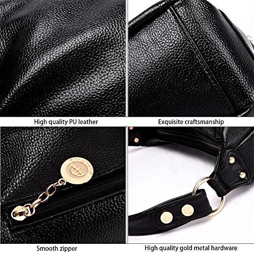 Toupons Borsa da donna a tracolla moda casual borsa a mano in pelle PU(nero) Nero