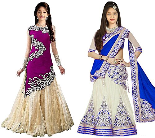 Market Magic World Girl's Purple & Blue Velvet, Net Semi Stitched Combo Pack lehenga Choli, Salwar Suit, Gown (Kids Wear_Free Size_8-12 Year age)  available at amazon for Rs.799