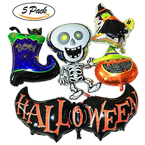 Vamei Halloween Ballons Aluminiumfolie Ballons einschließlich Kürbis Fledermaus Boot Hexe tanzen Geist und Bänder 6 Stück für Halloween Party Decor und Terror Spaß (Halloween Dekoration Sprengen)