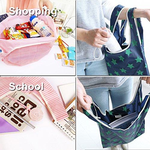 61rUucEqihL. SS500  - Bagcu Set of 5 Fashion Reusable Grocery Shopping Bag Foldable Shopping Tote Handy Shape Nylon Recycling Bags for…