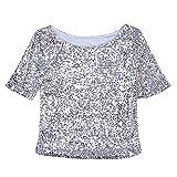 Shujin Damen Paillette T-Shirt Loose Blingbling Sequins Glitzer Kurzarmshirt Rundhals Oberteile Casual Tops
