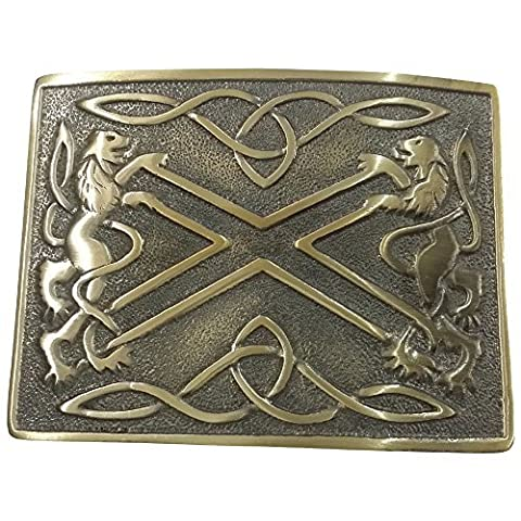 Tartan City Highland Saltire Lion Rampant Brass Antique Kilt Bet Buckle/Celtic Kilt Belt Buckle