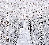 TISCHDECKE in Häkelspitze Quader Optik, Meterware, Weiss, 100x138 cm, Länge wählbar, Beautex