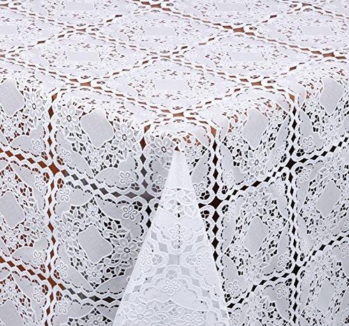 spitze Quader Optik, Meterware, Weiss, 100x138 cm, Länge wählbar, Beautex (Kunststoff-spitze Tischdecken)