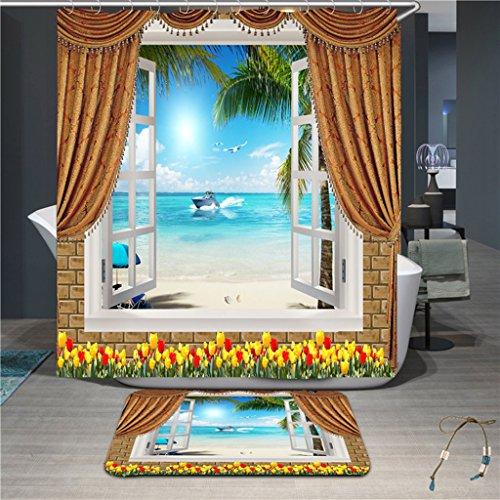 Fabric Duschvorhang Hotel (RLF LF Mildew Waterproof Fabric Duschvorhang 3D-Digitaldruck Duschvorhang Tuch Meerblick-Badezimmer-Vorhang Durch RLF.LF,Blue,200Cm*200Cm)
