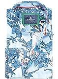 Barbons Freizeit Hemd Herren Technologie - Digital Print - Langarm Hawaiihemd Bügelfrei Mehrfarbig Modern Fit Blumen Blau Weiß Muster 2XL