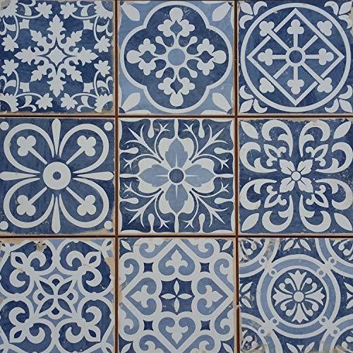 Mediterrane Patchwork Keramikfliesen Rahel Blau 33 x 33 cm 1 qm | Vintage Bodenfliesen Retro Fiese | Wanddekoration im Bad & Küchenrückwand | schöne Küche Flur & Bad | FL2112