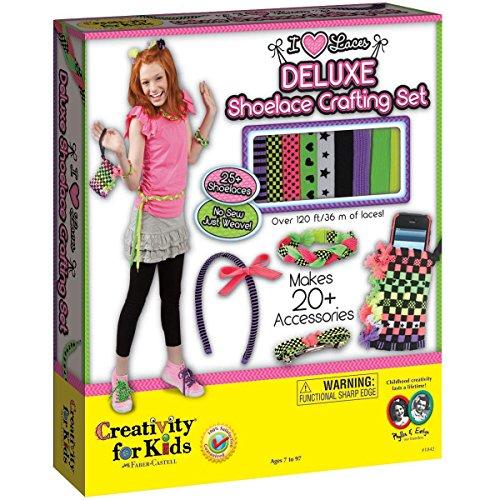 Creativity for Kids CFK1842 - I Love Laces - Weben mit Schnürsenkeln, Kinder-Bastelset