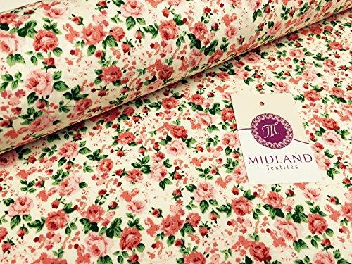 """Motivo floreale con rosa Vintage, 100% cotone, da sartoria, 111,76 cm (44"""") M345 Giacca da sci da donna Coral and Cream 3"""