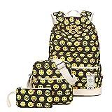 ZUNIYAMAMA 3 mis en sac d'école Emoji toile Laptop Backpack Sac à bandoulière sac à main sac (Pencil Case)