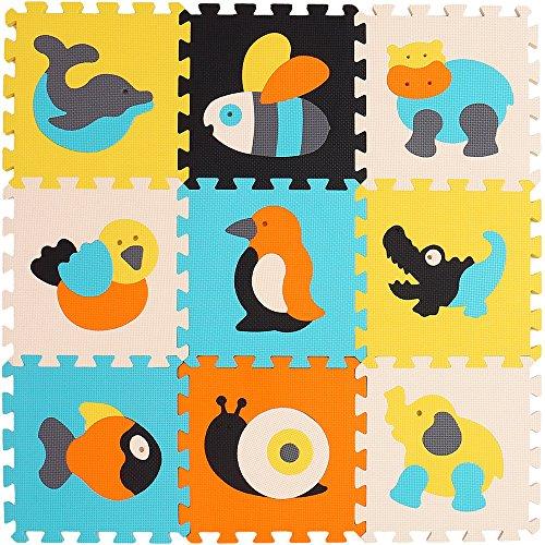 XMTMMD Alfombra de Juego Puzzle–Piezas de Puzzle de Encaje Que Promueven el Desarrollo Sensorial Visual–Alfombra Suave para Niños–9 Azulejos EVA Mat-No Tóxico AM14G