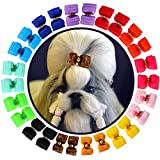 HOLLIHI 24 pcs/12 Pairs Adorable Grosgrain Ribbon Pet Dog Hair Bows with Elastic Rubber Bands - Doggy Kitty Bowknots Topknot Grooming Accessories Set for Long Hair Puppy Cat