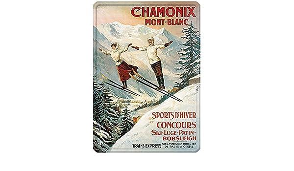 Chamonix Editions Clouet 56117 Les Deux sauteurs Grande Plaque m/étal 30x40 cm PLM
