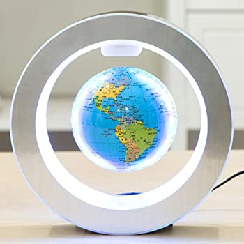 540b193b6dc2c3 Globe Terrestre Magnétique, Beetest 4inch Magnétique Lévitation Globe  Flottant avec LED O Forme Base Rotation Planète Terre Globe pour Le Bureau  de ...
