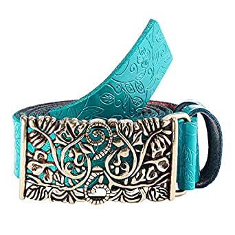 Gwood Damen Gürtel Mode Leder Jeansgürtel im Vintage Style in mehreren Farben (110cm, Blau)