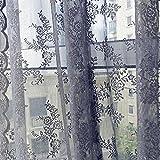 TPulling Warp Stricken Doppelte Spitze Blumen-bloße Vorhang-Tüll-Fensterbehandlungs-Voile Drapieren Volant 1 Platten-Gewebe Vorhänge (Grau)