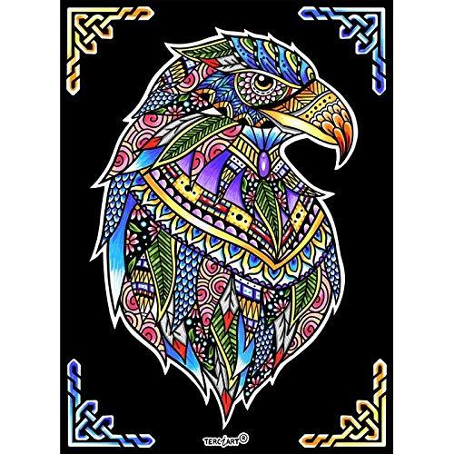 LAMINA PARA COLOREAR con caja de rotuladores. Aguila mandala
