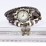 sprigy £ ¨ TM) nuovo caldo. Alta qualità Vintage in pelle donne orologio braccialetto orologio, farfalla