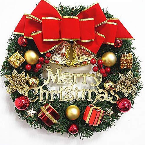 Künstlicher Kranz Türkranz Girlande Dekokranz Wandkranz Kränze Weihnachtskranz Hängend Weihnachtsdekoration Für Tür Outdoor Weihnachts Parties Feste Türen Feste Deko, Red Bowknot Jingle Bells, 30 Cm