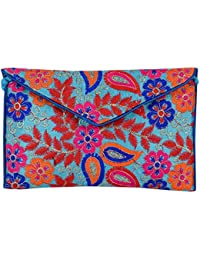 Shubhangi Women's Sling Bag (Jaipuri Embridered Handicraft Traditional Bags,Multi-Coloured, R32024 Sky)