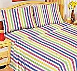 Candy Stripe 100% weicher Baumwolle Biber-Bettlaken, Thermo Set Spannbettlaken und Kissenbezüge Single gebürstet–Value Bundle: Zwei Sets