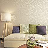 HANMERO® Romántico Moderno Diseño Flores Rayas Papel Pintado Papel de Pared TV Telón de Fondo/ Dormitorio/ Hotel/Restaurante,Color beige claro & plate