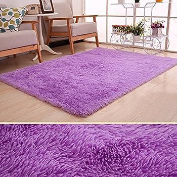 Violet et argent tapis épais sol tapis salon chambre à ...