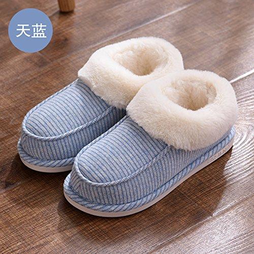 Doghaccd Pantoufles, Les Pantoufles De Coton Paquet Femelle Avec Hiver Épais Beau Salon Intérieur Molleton Chaud Jeunes Pantoufles Ciel Bleu2