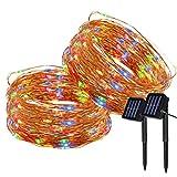 Yasolote 2 PACK Luz Solar 22M 200 LED Guirnalda de Luces 8 Modos de Luces de Alambre de Cobre Impermeable para Decoración de Fiestas, Bodas, Navidad, Exterior e Interior (Colores)