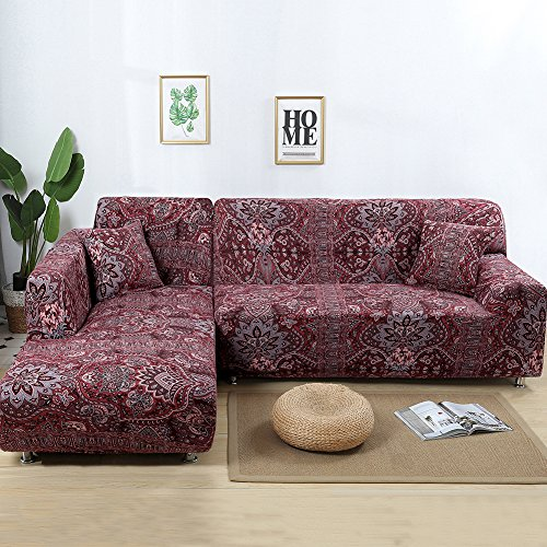 Jian Ya NA Stretch Sofabezüge Polyester Spandex Stoff Slipcover 2ST Polyester-Gewebe Stretch Slipcovers + 2pcs Kissenbezüge für Sectional Sofa L-Form-Couch Rot (Chino Style)