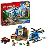 LEGO 10751 Juniors Mountain Police Chase Building Set, Toy Police Station Helicopter and Bike, Fun Build and Play Sets for Kids 4-7
