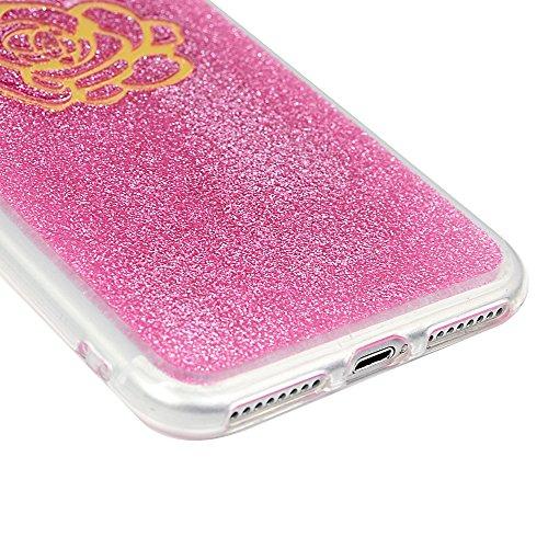 Cover per iPhone 7 Plus Silicone e Bling Glitter Brillanti, iPhone 8 Plus Custodia Morbida TPU Flessibile Gomma - MAXFE.CO Case Ultra Sottile Cassa Protettiva per iPhone 7 Plus / iPhone 8 Plus - Acchi Fiore Oro
